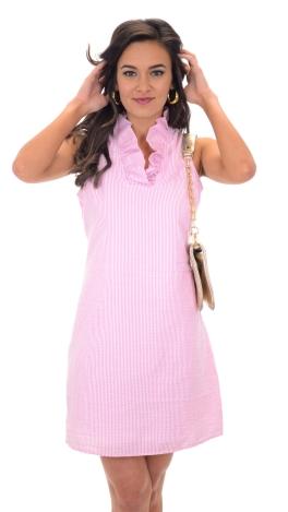 Sailor Seersucker Dress Pink :: Dresses :: The Blue Door Boutique