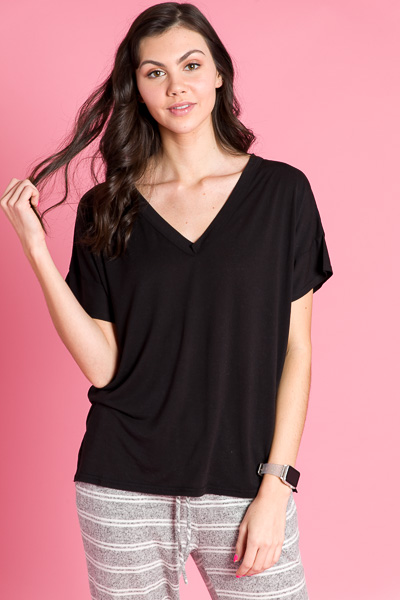 Short Sleeve V-Neck Piko, Black