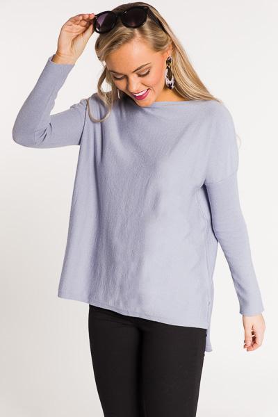 Solid Boatneck Sweater, Blue Grey