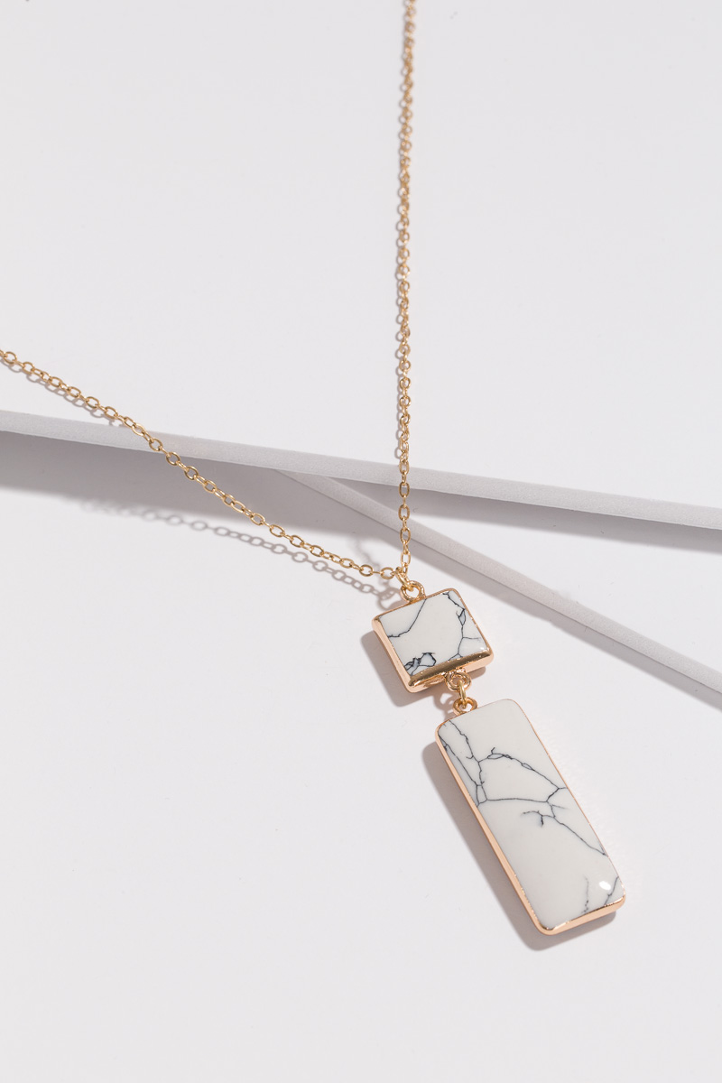 Rectangle Marble Necklace, White
