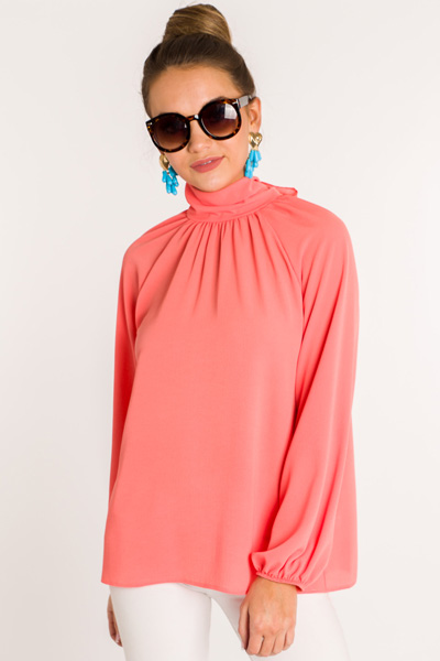 Newer Look Mock Neck, Coral