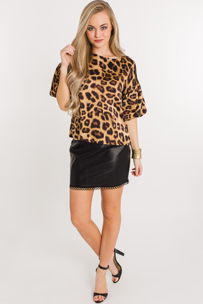 Leopard Love Puff Sleeve Top