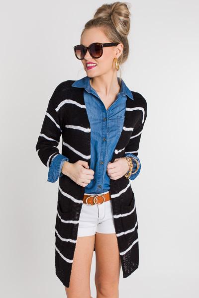 Go-to Stripe Cardigan, Black