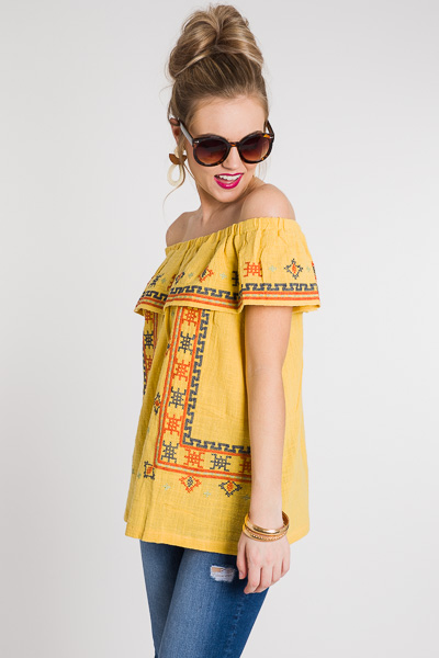 Chasing Sunsets Top, Mustard