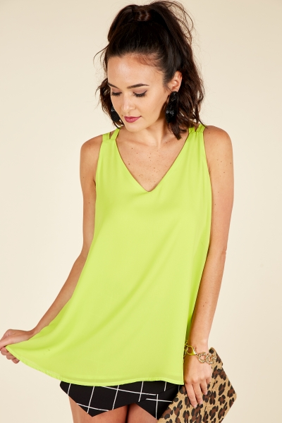X Back Cami, Lime