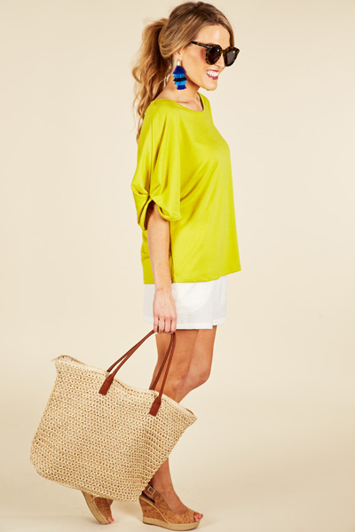 Gathered Sleeve Tee, Citrus