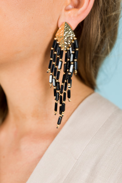 Boho Beads Tassel Earring, Black