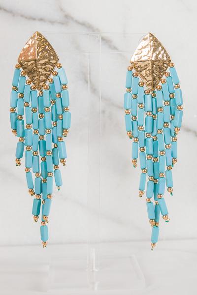 Boho Beads Tassel Earring, Blue