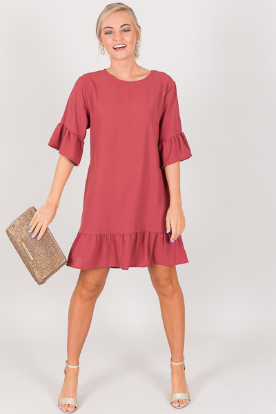 Audrey Ruffled Dress, Marsala