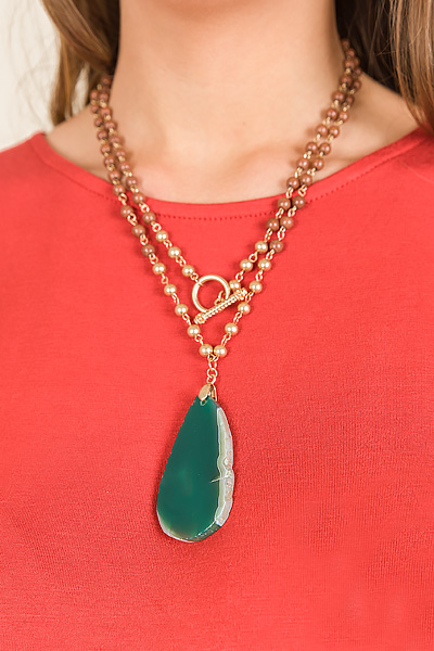 Toggle Stone Neck, Brown/Green