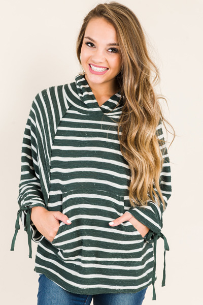 Terry Stripe Hoodie, Hunter