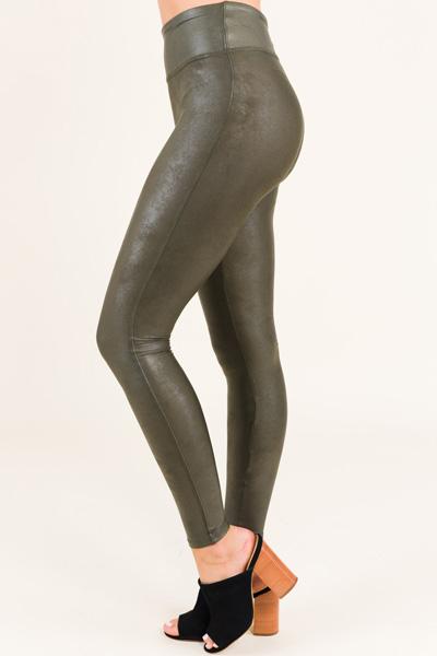 SPANX Leather Legging, Olive