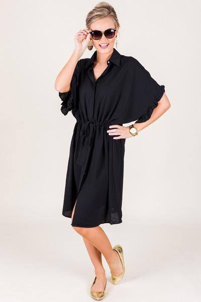 Drawstring Shirt Dress, Black