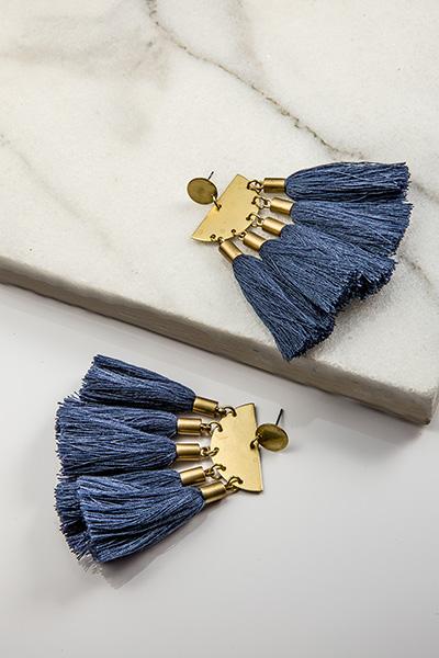 Tassel Earrings, Navy