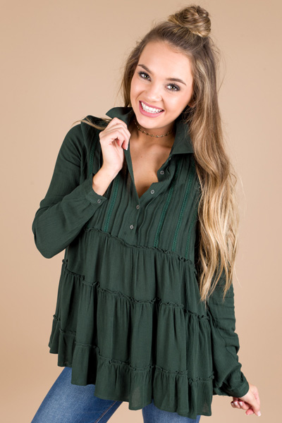 Evergreen Babydoll Blouse