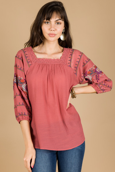 Embroidered Sleeves Top, Marsala