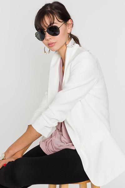 Ruched Sleeves Blazer, White
