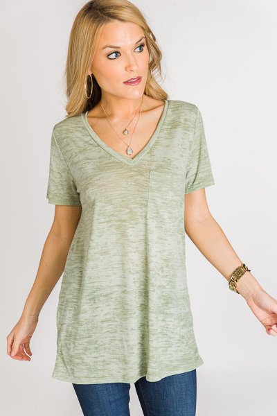 Marble Knit V Tee, Olive