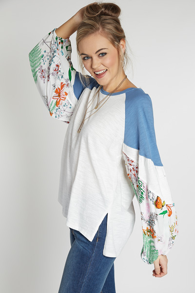 Floral Puff Sleeve Top, White
