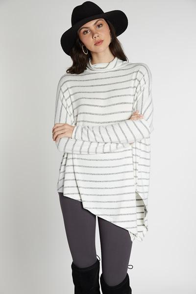 Asymmetrical Cowl Tunic, Stripe