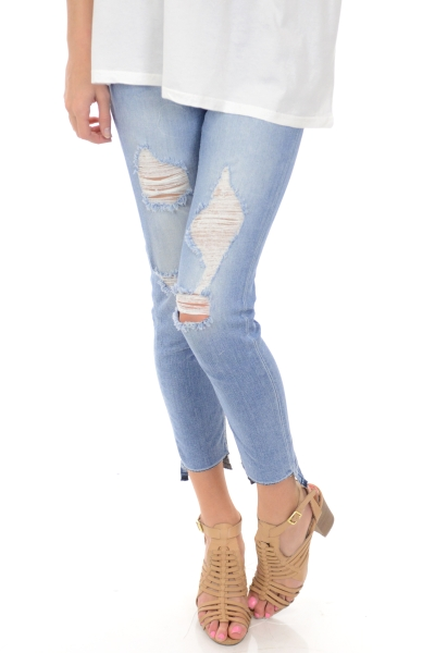 Ripped Step Hem Jeans