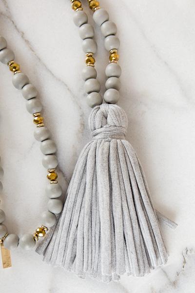 Jersey Tassel Necklace, Grey