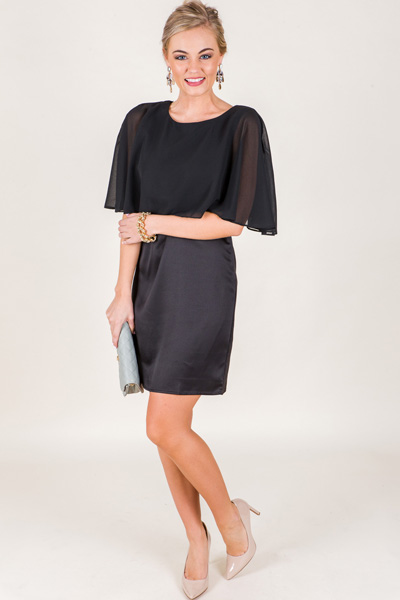 Sheer Cape Dress, Black
