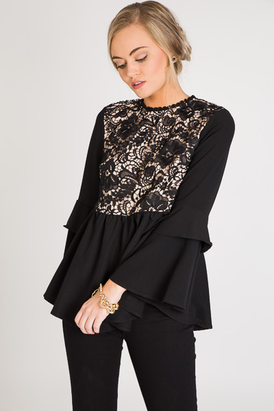 Lust for Lace Peplum, Black