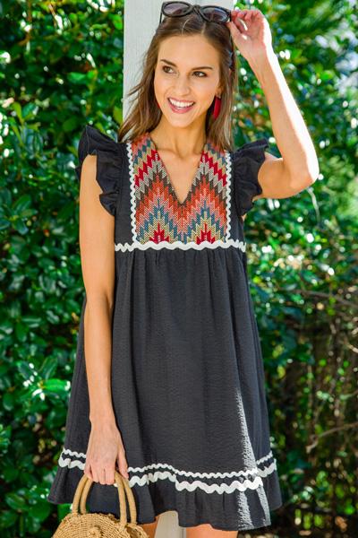 Black Seersucker Ric Rac Dress