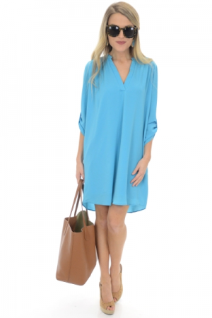 Tabbed Shirt Dress, Sky Blue