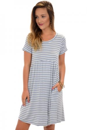 Pocket Babydoll Dress, Blue
