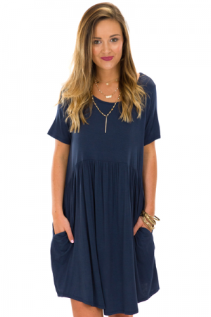 Paige Pocket Dress, Navy