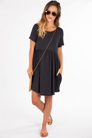 Paige Pocket Dress, Ash Black
