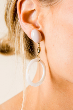 Double Time Earring, White
