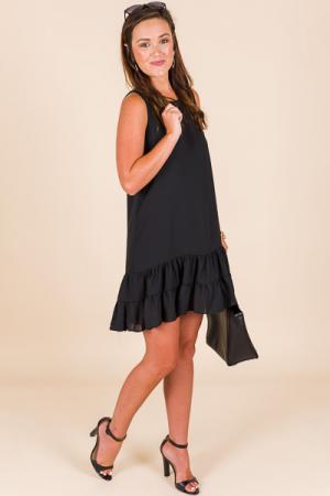Bottom Ruffle Dress, Black