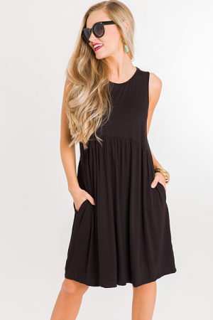 Tiered Bamboo Dress, Black