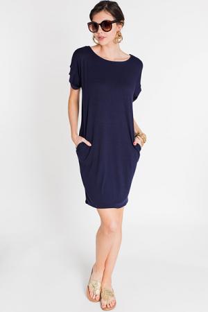 Rolled Sleeve T Shirt Dress, Navy