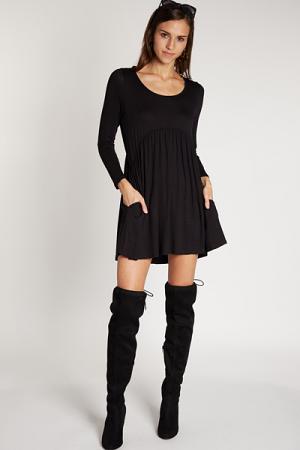 Babydoll Pocket Dress, Black