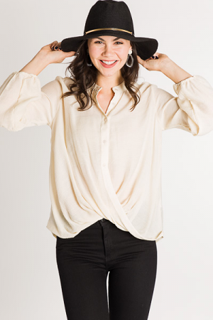Plain & Simple Wrap Blouse, Cream