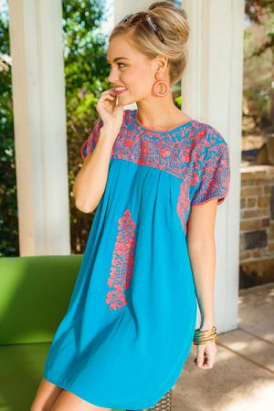 Carolina Embroidered Dress, Blue