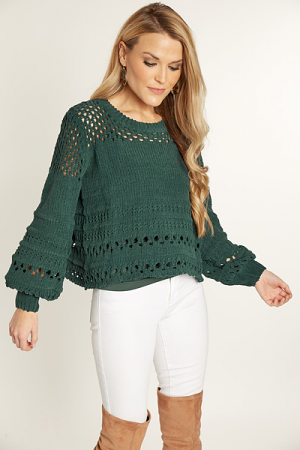Open Knit Chenille, Hunter