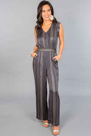 Gold Threads Tie Back Jumpsuit