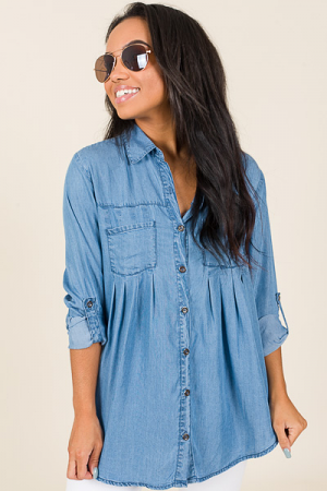 Pleated Chambray Button Down