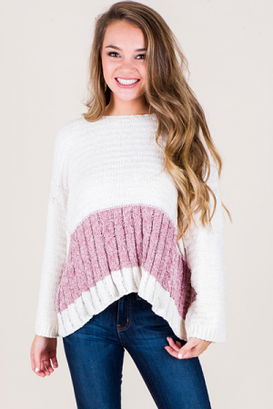 Chenille Cable Sweater, Ivory