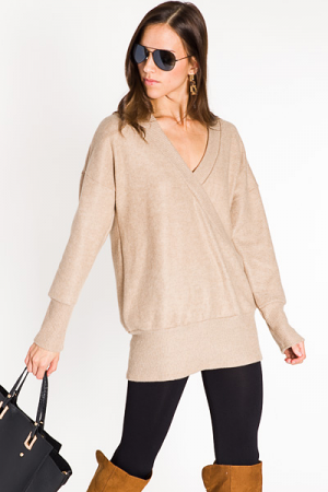 Brushed & Plush Pullover, Taupe
