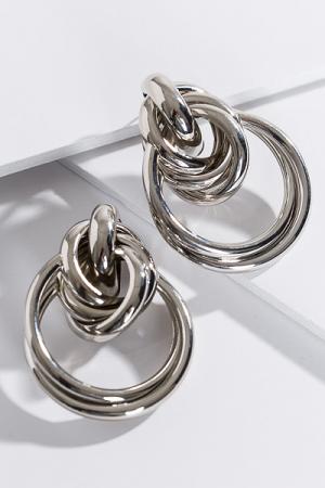 Oversized Knot Earring, Silver