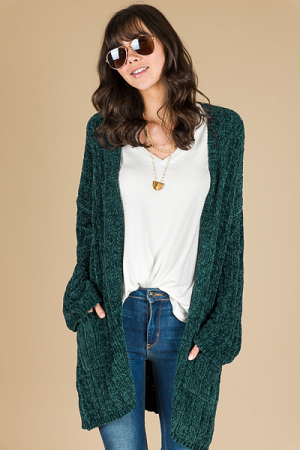 Cozy Up Chenille Cardi, Green