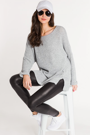 Let Loose Knit Tunic, Grey