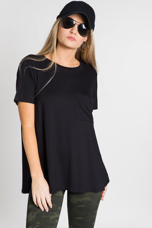 Rae Jersey Top, Black