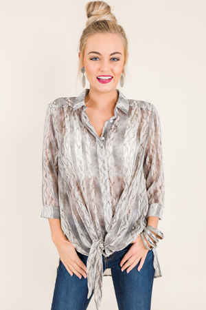 Printed Tie Button Down
